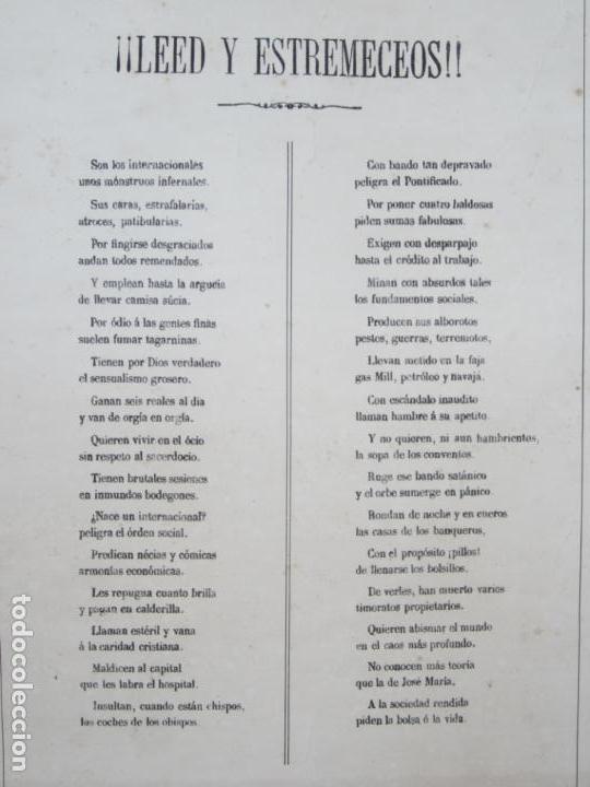 Carteles: Cartel satírico La Internacional, siglo XIX, tipos auténticos de los sectarios. 47,5x67cm - Foto 6 - 133810322