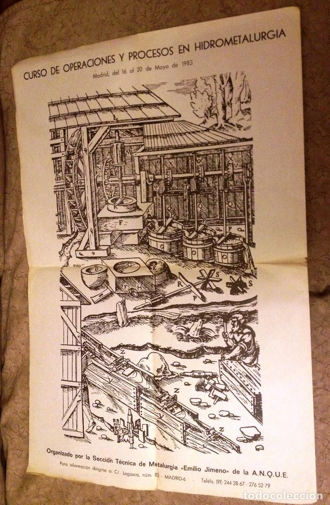 CARTEL SOBRE PROCESOS DE HIDROMETALURGIA, EN MADRID- 1983 (Coleccionismo - Carteles Gran Formato - Carteles Varios)