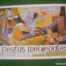 Carteles: CARTEL II FIESTAS MEDIEVALES, PRIMAVERA 88. CÁCERES 1988. 69,5X49,5 CM. Lote 136223354