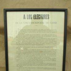 Carteles: ANTIGUO CARTEL. DEFENSA DEL ARSENAL DE LA CARRACA. CÁDIZ. 1893. RAFAEL DE LA VIESCA. 45 X 33CM LEER. Lote 139787598
