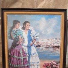 Affiches: ANTIGUO CUADRO FERIA DE LA PRIMAVERA DE 1989 PUERTO DE SANTA MARÍA. VESTIDAS DE GITANA. ENMARCADO. Lote 140068430