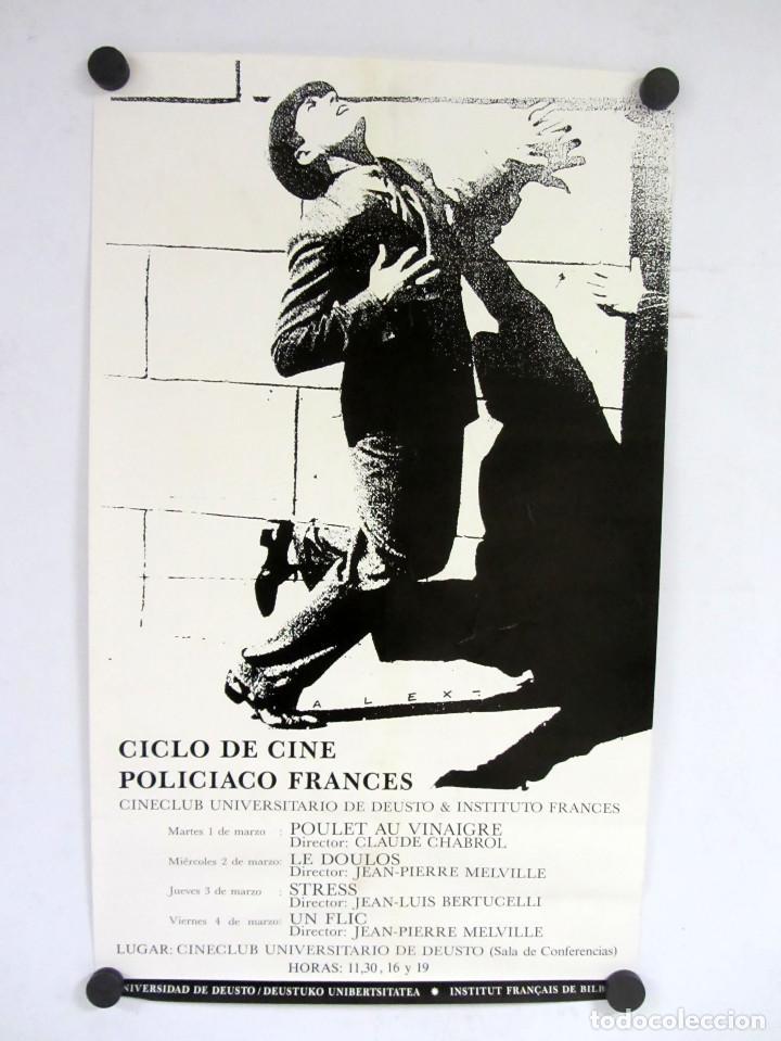 CICLO DE CINE POLICIACO FRANCÉS. CINECLUB UNIVERSITARIO DE DEUSTO. CARTEL ORIGINAL 30X50CMS. (Coleccionismo - Carteles Gran Formato - Carteles Varios)