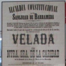 Carteles: SAN LUCAR DE BARRAMEDA. ALCALDÍA CONSTITUCIONAL 1883. VELADA DE NUESTRA SEÑORA. DE LA CARIDAD.. Lote 140693782