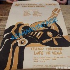 Carteles: SEVILLA, 1984, CARTEL XI CERTAMEN DE TUNAS UNIVERSITARIAS, 33X54 CMS. Lote 141656414