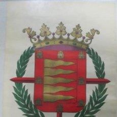 Carteles: ESCUDO CROMO-LITOGRÁFICO DE LA CIUDAD DE VALLADOLID. SINDICATO DE PAPEL Y ARTES GRÁFICAS. 64 X 44 CM. Lote 141759574