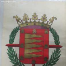 Carteles: ESCUDO CROMO-LITOGRÁFICO DE LA CIUDAD DE VALLADOLID. SINDICATO DE PAPEL Y ARTES GRÁFICAS. 64 X 44 CM. Lote 141760010