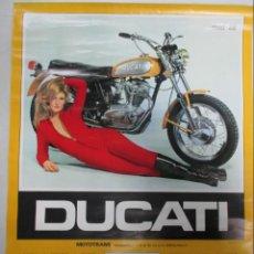 Carteles: CALENDARIO DE MOTOCICLETA DUCATI. ROAD 350. MOTOTRANS 1973. 90 X 64 CENTÍMETROS. . Lote 141875330