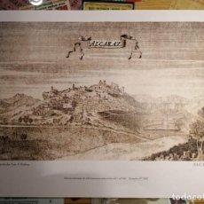 Carteles: ALCARAZ - ALBACETE - LAMINA MAPA VISTA DE 1681 - COLECCIÓN PARTICULAR NUMERADA Nº 6. Lote 210766912
