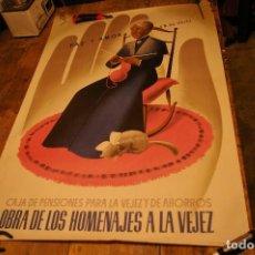 Carteles: CARTEL CAJA DE PENSIONES PARA LA VEJEZ, 1954, ILUSTRADOR GALLEGO, 98 X 68 CM.. Lote 142815854