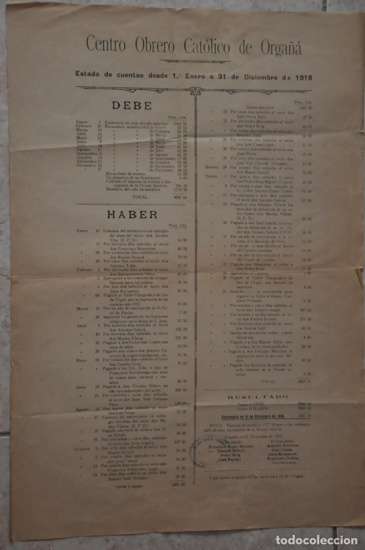 CARTEL CENTRO OBRERO CATOLICO DE ORGAÑA, ORGANYA, 1918 (Coleccionismo - Carteles Gran Formato - Carteles Varios)