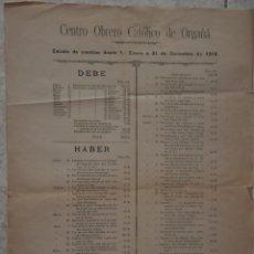 Carteles: CARTEL CENTRO OBRERO CATOLICO DE ORGAÑA, ORGANYA, 1918. Lote 142893730