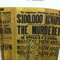 Plakate - cartel asesinato Abraham Lincoln - pergamino - años 60 - reproducción - 144105350