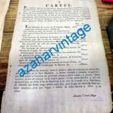 Carteles: SEVILLA, 1800,CARTEL BIENES SACADOS A SUBASTA POR EMBARGO DERECHOS REALES EN CASTILLEJA DE LA CUESTA. Lote 144188282