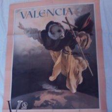 Carteles: CARTEL DE JOSE BENLLIURE VALENCIA,CENTENARIO DE ASOCIACION SAN VICENTE FERRER 1955,GRAFICAS VALENCIA. Lote 145945362