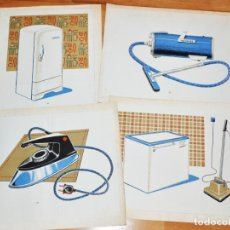 Carteles: LOTE 4 CARTELES ESCOLARES .TEMATICA -ELECTRODOMESTICOS.URSS/1960 A. Lote 147880442