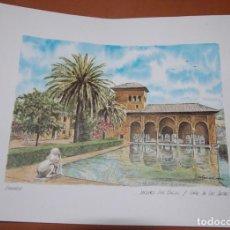 Carteles: LAMINA ALHAMBRA DE GRANADA JARDINES DEL PARTAL Y TORRE DE LAS DAMAS. Lote 149884978