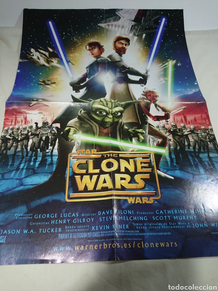 CARTEL POSTER DOBLE THE CLONE STAR WARS + SPACE CHIMPS 57X43CM (Coleccionismo - Carteles Gran Formato - Carteles Varios)