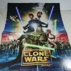 Carteles: CARTEL POSTER DOBLE THE CLONE STAR WARS + SPACE CHIMPS 57X43CM. Lote 153684982