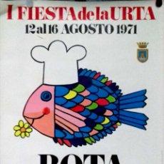 Carteles: CARTEL. I FIESTA DE LA URTA. 1971. ROTA ( CADIZ ). COSTA DE LA LUZ.. Lote 156923166