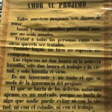 Carteles: CARTEL ESCOLAR AMOR AL PRÓJIMO. COLECCION ESCOLAR MÁXIMAS MORALES. S. CALLEJA MADRID. Lote 158328922