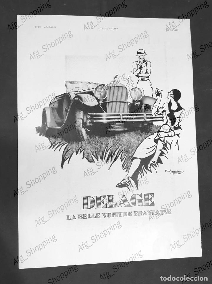 AUTOMÓVILES DELAGE - 30 X 40 CM - AÑO 1931 - LAMINA ORIGINAL DE LA REVISTA ´´L´ILLUSTRATION´´ (Coleccionismo - Carteles Gran Formato - Carteles Varios)