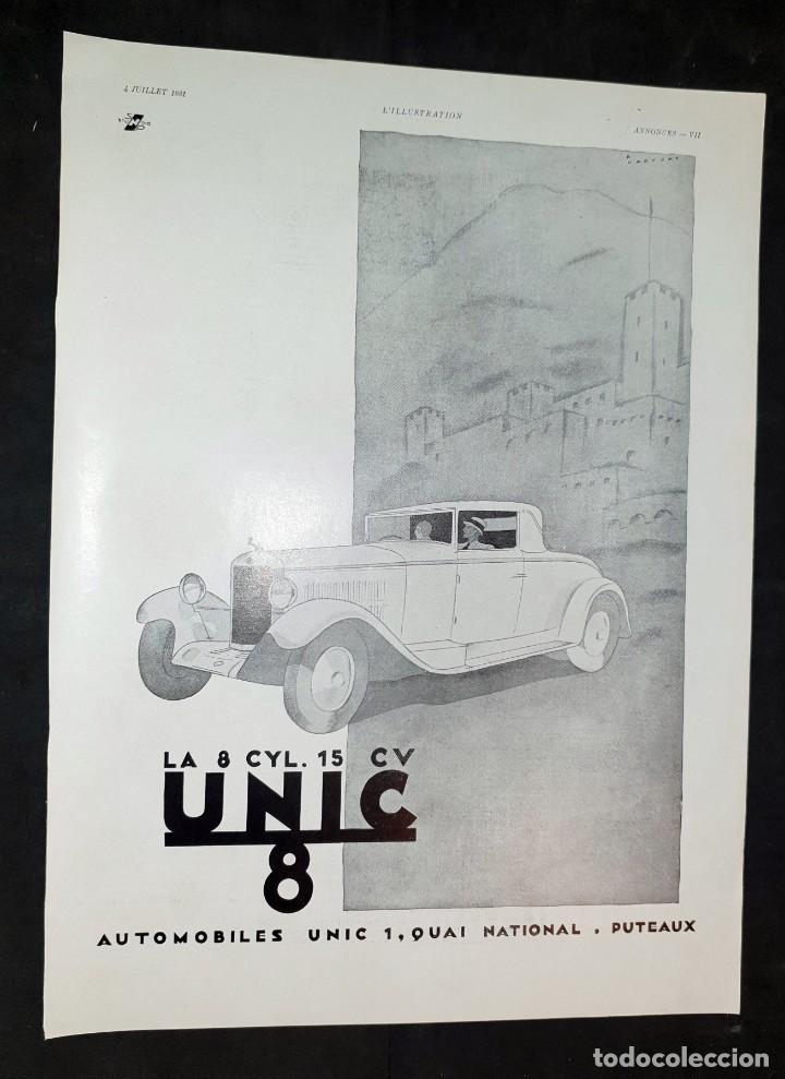 AUTOMÓVILES UNIC 8 - 30 X 40 CM - AÑO 1931 - LAMINA ORIGINAL DE LA REVISTA ´´L´ILLUSTRATION´´ (Coleccionismo - Carteles Gran Formato - Carteles Varios)