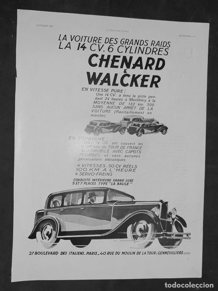 AUTOMÓVILES CHENARD & WALCKER - 30 X 40 CM - LAMINA ORIGINAL DE LA REVISTA ´´L´ILLUSTRATION´´ - 1931 (Coleccionismo - Carteles Gran Formato - Carteles Varios)