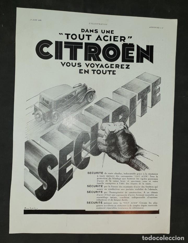 AUTOMÓVILES CITROËN - 30 X 40 CM - LAMINA ORIGINAL DE LA REVISTA ´´L´ILLUSTRATION´´ - 1931 (Coleccionismo - Carteles Gran Formato - Carteles Varios)