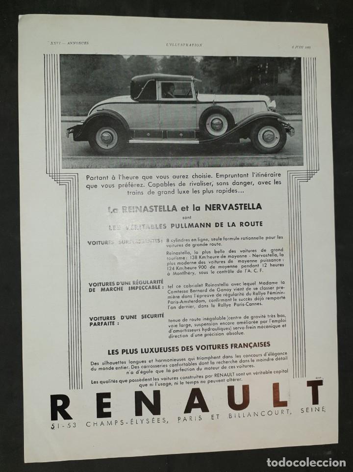 AUTOMÓVILES RENAULT - 30 X 40 CM - LAMINA ORIGINAL DE LA REVISTA ´´L´ILLUSTRATION´´ - 1931 (Coleccionismo - Carteles Gran Formato - Carteles Varios)