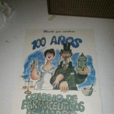 Carteles: CARTEL DIBUJO MINGOTE 100 AÑOS COLEGIO OFICIAL DE FARMACEÚTICOS DE MADRID CARTULINA 42 X 30 CM. . Lote 160749862