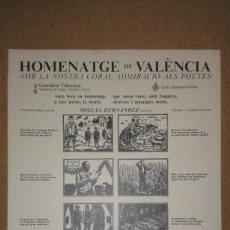 Carteles: CARTEL AUCA HOMENAJE VALENCIA MIGUEL HERNÁNDEZ, VIÑETAS PÉREZ CONTEL, VERSOS ANDRÉS ESTELLÉS, 1985. Lote 161478118