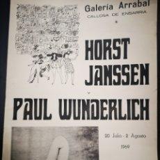 Carteles: CARTEL ORIGINAL EXPOSICIÓN HORST JANSSEN Y PAUL WUNDERLICH. 1969, 70X50CM.. Lote 163614824