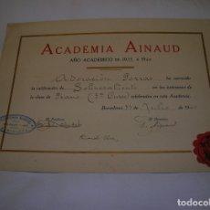 Carteles: CARTEL DE DE CERTIFICADO ACADEMICO BARCELONA AÑO ,1939,40. Lote 164878266