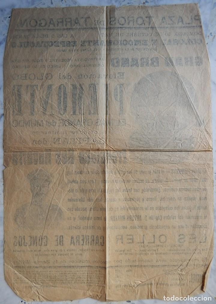 Carteles: Tarragona 1927 / Elevación del Globo más grande del mundo - Piemonte - Capitán D. Francisco Bes - Foto 2 - 165355498