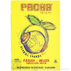 Carteles: POSTER ORIGINAL PACHA IBIZA 2000 ~ GLOBAL SOUNDS ~ 44 X 64 CM. Lote 127168275
