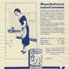 Carteles: PUBLICIDAD (26X20,5) TUBOLAX. QUÍMICA INDUSTRIAL. BARCELONA 1933. Lote 166517941