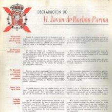 Carteles: [CARLISMO] DECLARACIÓN DE D. JAVIER DE BORBÓN PARMA.. Lote 195194172