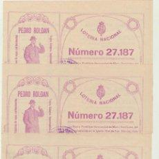 Carteles: LOTE DE 3 PARTICIPACIONES PARA EL SORTEO DE NAVIDAD DE 1921. CON PUBLICIDAD DE ALMACENES PEDRO ROLDA. Lote 167114913