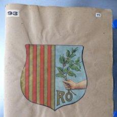 Carteles: PRECIOSOS ESCUDOS LITOGRAFICOS TROQUELADOS DE MATARÓ, BARCELONA Y LUGO, AÑOS 1890-1900. Lote 167828432
