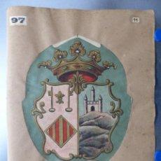 Carteles: PRECIOSOS ESCUDOS LITOGRAFICOS TROQUELADOS DE JIJONA, ALICANTE Y GUADALCANAL, SEVILLA AÑOS 1890-1900. Lote 167831736