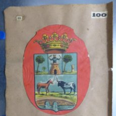 Carteles: PRECIOSOS ESCUDOS LITOGRAFICOS TROQUELADOS DE UTRERA, SEVILLA Y GRANOLLERS, BARCELONA AÑOS 1890-1900. Lote 167832012