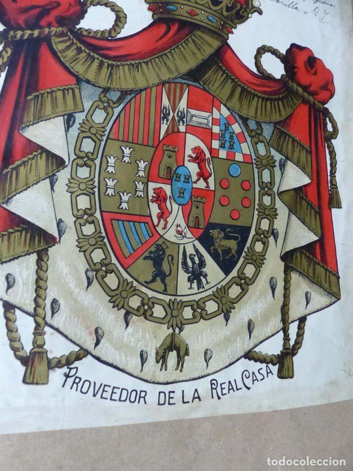 Carteles: PRECIOSOS Escudos Litograficos de OLIVA, VALENCIA y PROVEEDOR DE LA REAL CASA, años 1890-1900 - Foto 4 - 169292924