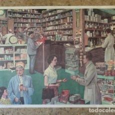 Carteles: CARTEL DOBLE ESCOLAR: FARMACIA / HOMENAJE. Lote 169681028