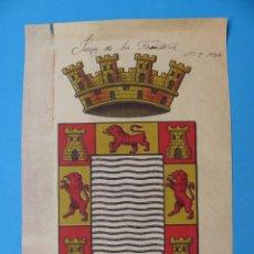 Carteles: PRECIOSO ESCUDO LITOGRAFICO EN PAPEL DE JEREZ DE LA FRONTERA, CADIZ, AÑO 1934. Lote 169973400