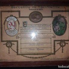 Carteles: RECUERDO NACIMIENTO A LOS SEÑORES PADRES CON FOTO L.LLOPIS VALENCIA 1932 PRECIOSO. Lote 170214664