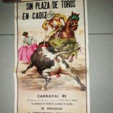 Carteles: CARNAVAL DE CADIZ CARTEL AGRUPACION DE CARNAVAL 73X35 CMS EL LETE Y PEPON. Lote 171266570