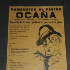 Carteles: (M) CARTEL HOMENATGE AL PINTOR OCAÑA, PLAÇA REAL 1984, 64X44 CM, SEÑALES DE USO NORMALES. Lote 171580433