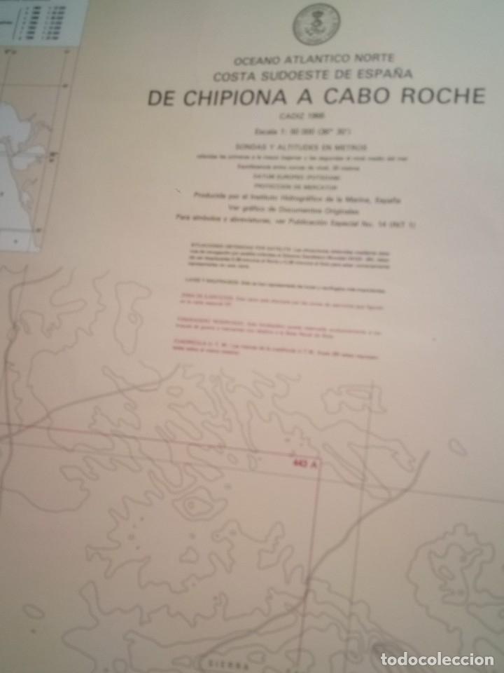 Carteles: CARTEL POSTERS. CARTA MARITIMA. 443 DE CHIPIONA A CABO DE ROCHE. CADIZ 1966. EST3B6B - Foto 3 - 172645188