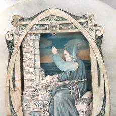 Carteles: CARTEL ANTIGUO HOMBRE PREDICIENDO EL TIEMPO CON MECANISMO. Lote 176384669