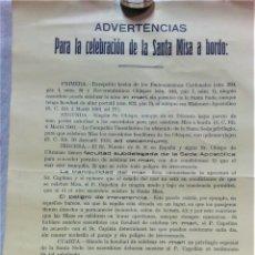 Carteles: CARTEL ADVERTENCIAS CELEBRACIÓN MISA A BORDO COMPAÑIA TRASATLÁNTICA BARCELONA,AÑO 1925. Lote 176998038